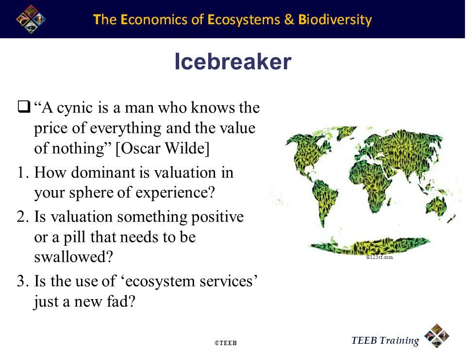 TEEB Training Key Resources for Module TEEB @ Yale –http://environment.yale.edu/TEEBhttp://environment.yale.edu/TEEB The International Society for Ecological Economics (ISEE) –http://www.isecoeco.org/http://www.isecoeco.org/ EcoServices group at Arizona State University –http://www.ecoservices.asu.edu/ecoservicesproject/people.