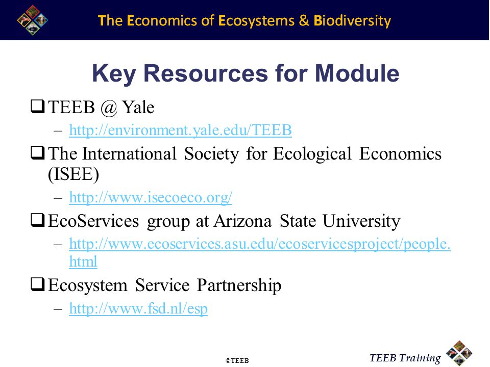 TEEB Training Key Resources for Module TEEB @ Yale –http://environment.yale.edu/TEEBhttp://environment.yale.edu/TEEB The International Society for Ecological Economics (ISEE) –http://www.isecoeco.org/http://www.isecoeco.org/ EcoServices group at Arizona State University –http://www.ecoservices.asu.edu/ecoservicesproject/people.