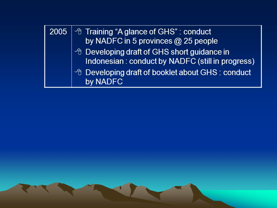 2005 Training A glance of GHS : conduct by NADFC in 5 provinces @ 25 people Developing draft of GHS short guidance in Indonesian : conduct by NADFC (s