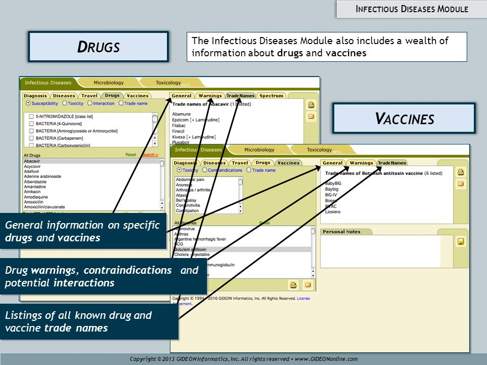 V ACCINES D RUGS The Infectious Diseases Module also includes a wealth of information about drugs and vaccines Copyright © 2013 GIDEON Informatics, Inc.