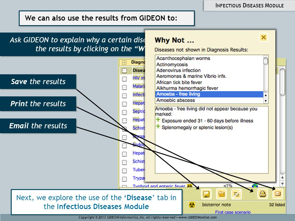 We can also use the results from GIDEON to: Ask GIDEON to explain why a certain disease does not appear in the results by clicking on the Why Not button Copyright © 2013 GIDEON Informatics, Inc.