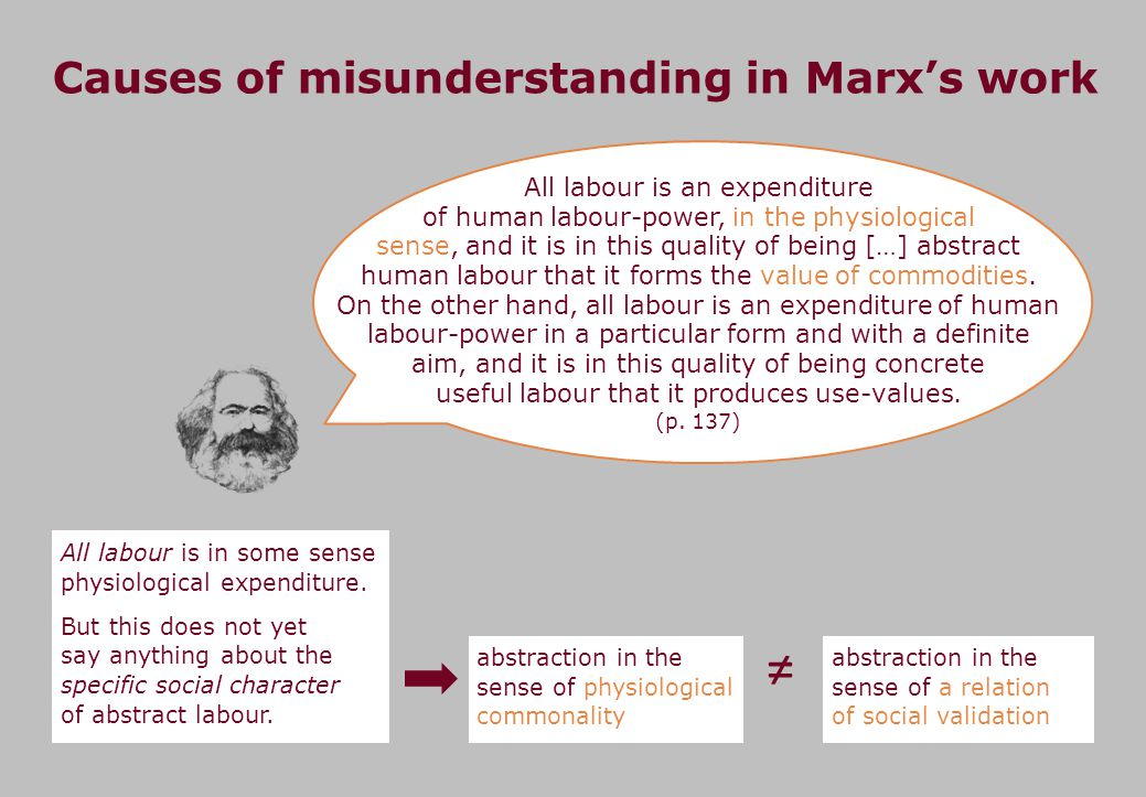 Causes of misunderstanding in Marxs work All labour is an expenditure of human labour-power, in the physiological sense, and it is in this quality of