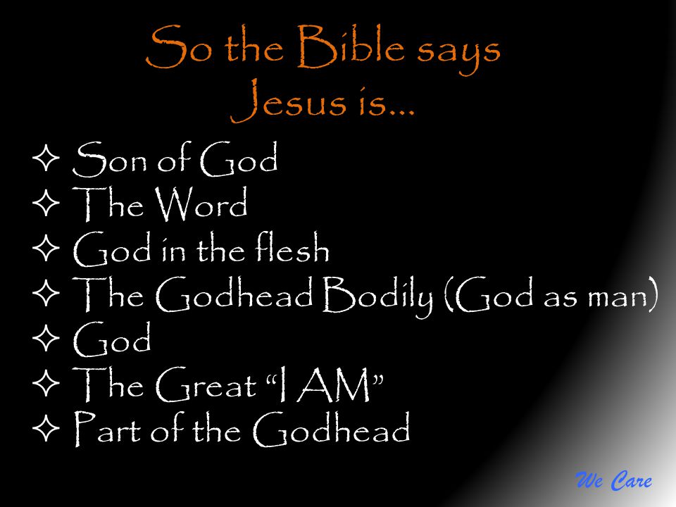 We Care So the Bible says Jesus is… Son of God The Word God in the flesh The Godhead Bodily (God as man) God The Great I AM Part of the Godhead
