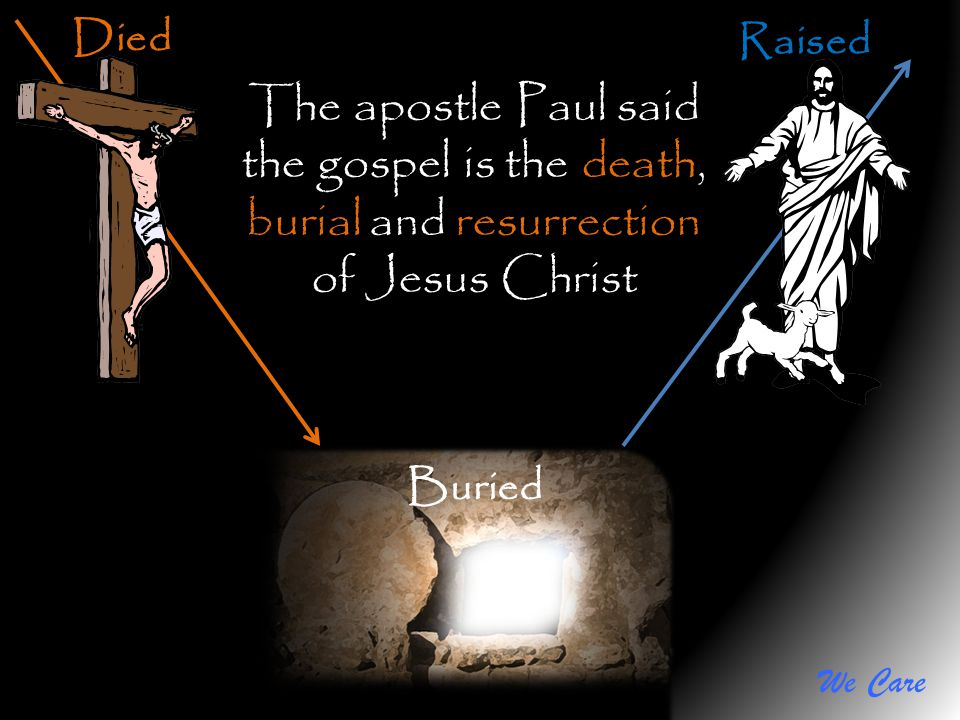 We Care Died Buried Raised The apostle Paul said the gospel is the death, burial and resurrection of Jesus Christ