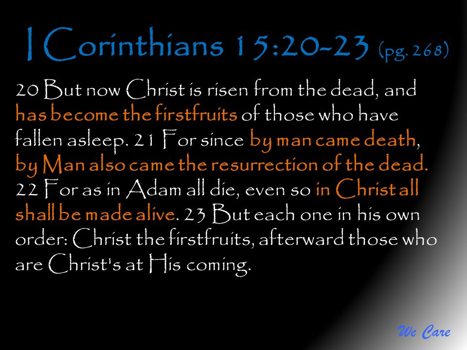 We Care I Corinthians 15:20-23 (pg. 268) 20 But now Christ is risen from the dead, and has become the firstfruits of those who have fallen asleep. 21