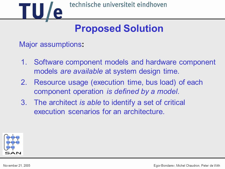 November 21, 2005Egor Bondarev, Michel Chaudron, Peter de With Proposed Solution 1.Software component models and hardware component models are available at system design time.