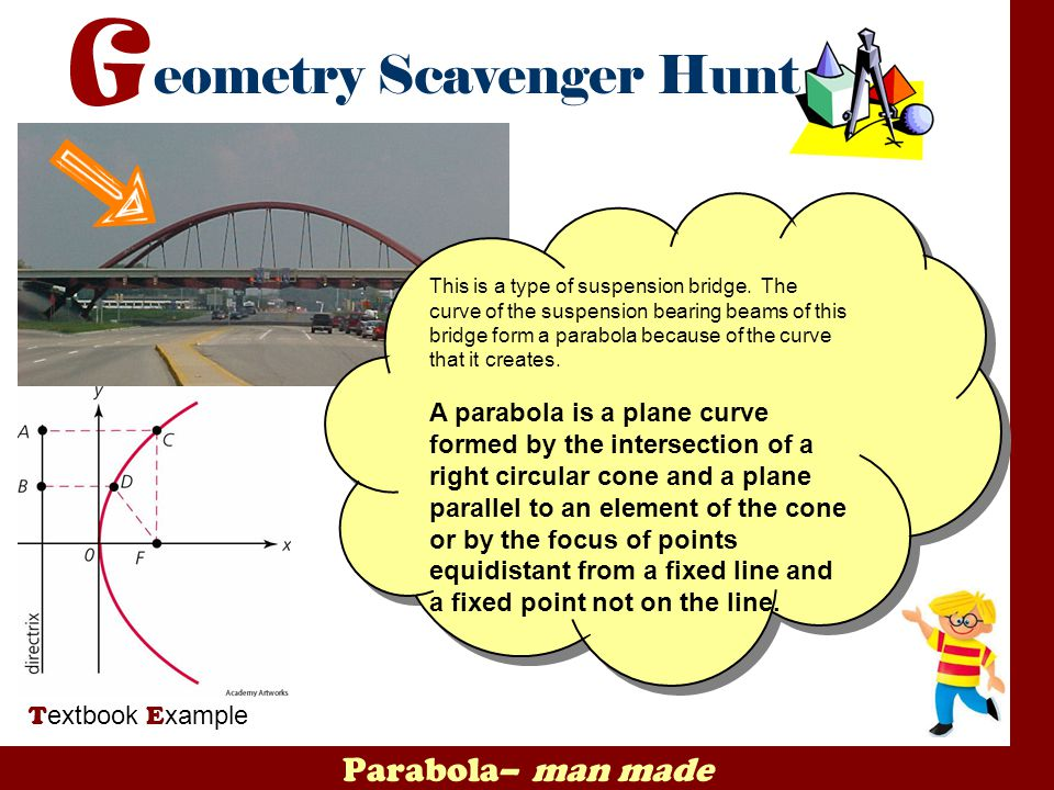 Parabola– man made T extbook E xample This is a type of suspension bridge. The curve of the suspension bearing beams of this bridge form a parabola be