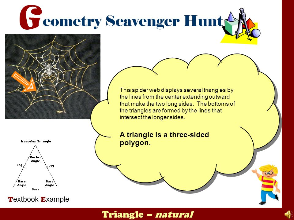 Triangle – natural T extbook E xample This spider web displays several triangles by the lines from the center extending outward that make the two long