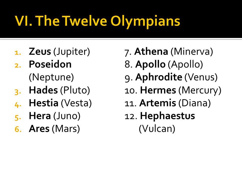 1. Zeus (Jupiter) 2. Poseidon (Neptune) 3. Hades (Pluto) 4. Hestia (Vesta) 5. Hera (Juno) 6. Ares (Mars) 7. Athena (Minerva) 8. Apollo (Apollo) 9. Aph