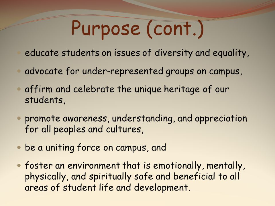 Purpose The purpose of the Multicultural and Women s & Gender Student Center (MWGSC) is to…