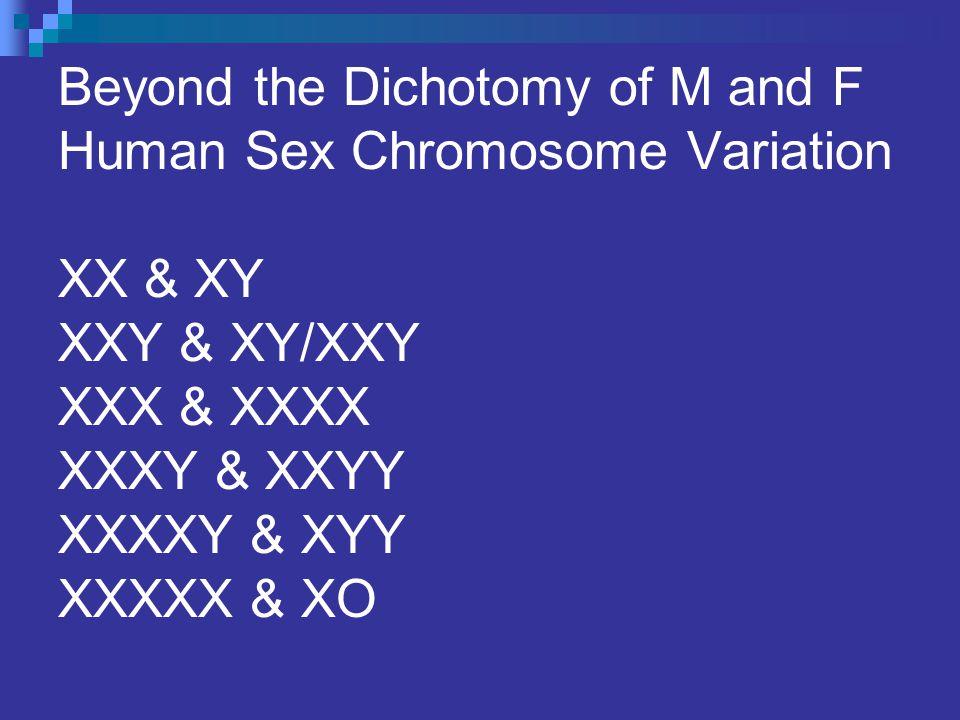 Beyond the Dichotomy of M and F Human Sex Chromosome Variation XX & XY XXY & XY/XXY XXX & XXXX XXXY & XXYY XXXXY & XYY XXXXX & XO