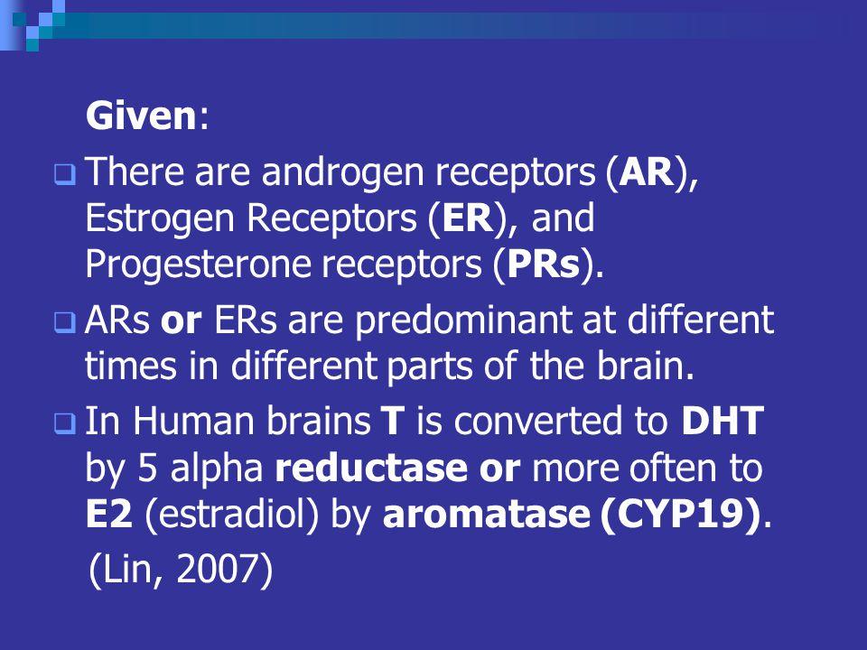 Given: There are androgen receptors (AR), Estrogen Receptors (ER), and Progesterone receptors (PRs).