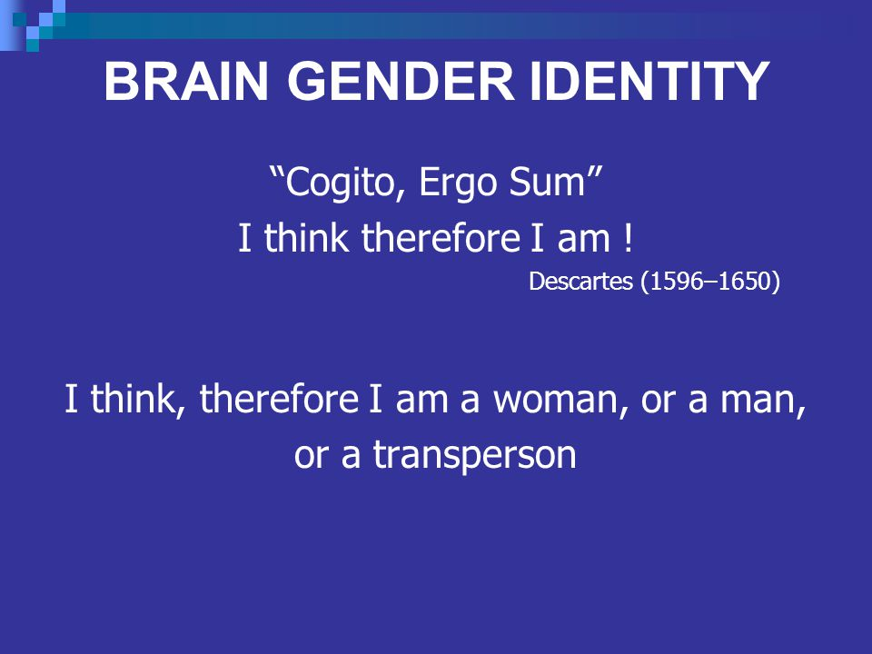 BRAIN GENDER IDENTITY Cogito, Ergo Sum I think therefore I am .