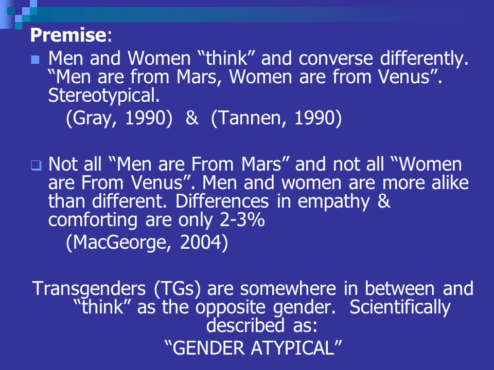 Premise: Men and Women think and converse differently.