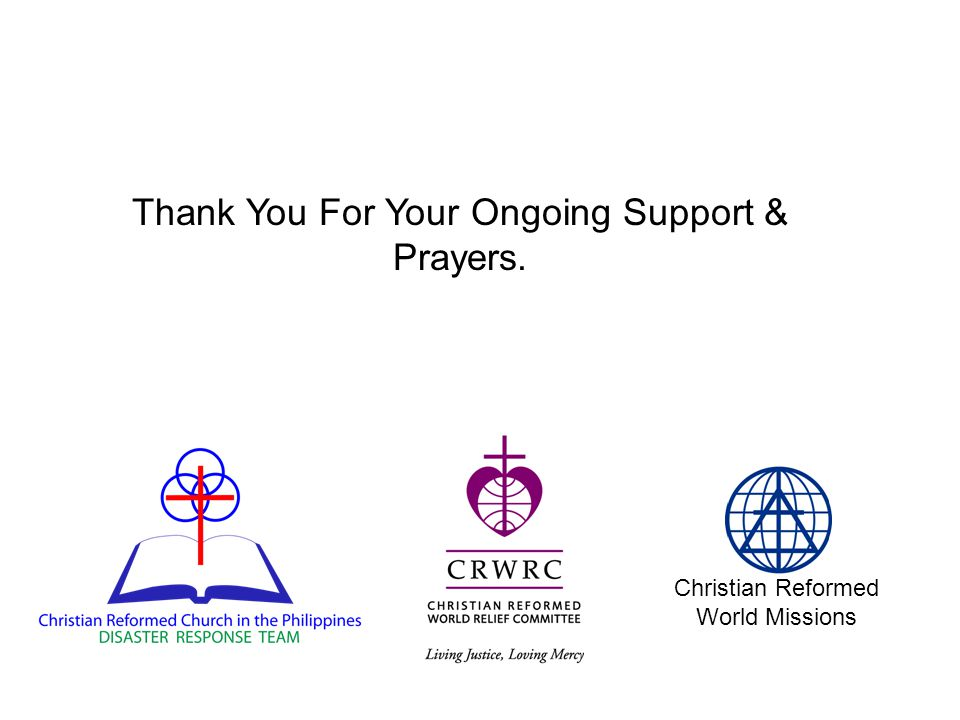 Christian Reformed World Missions Thank You For Your Ongoing Support & Prayers.