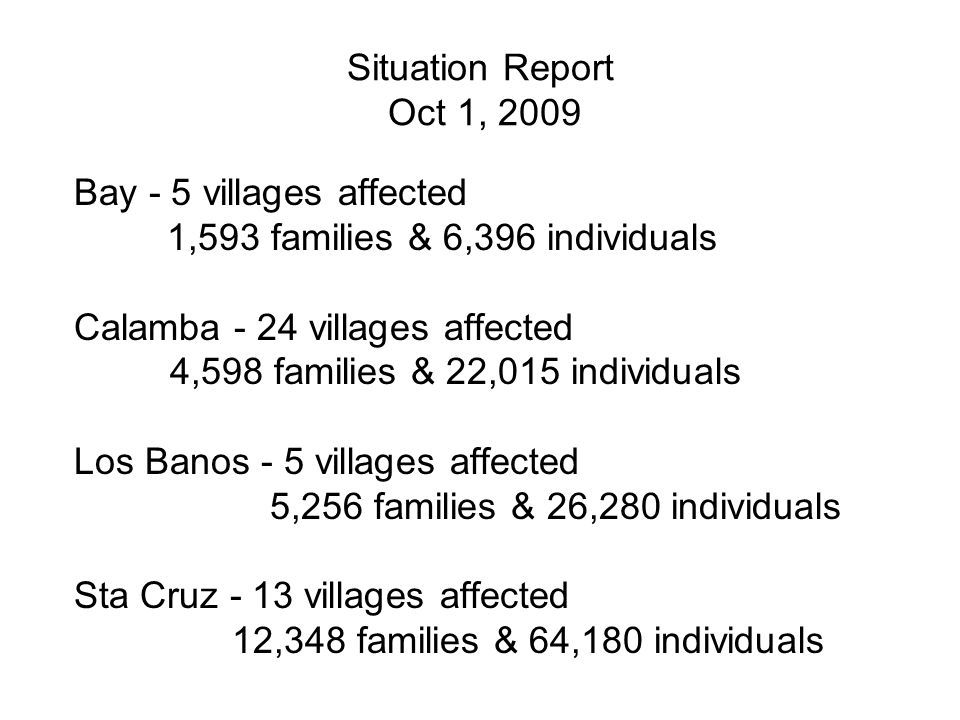 Situation Report Oct 1, 2009 Bay - 5 villages affected 1,593 families & 6,396 individuals Calamba - 24 villages affected 4,598 families & 22,015 indiv