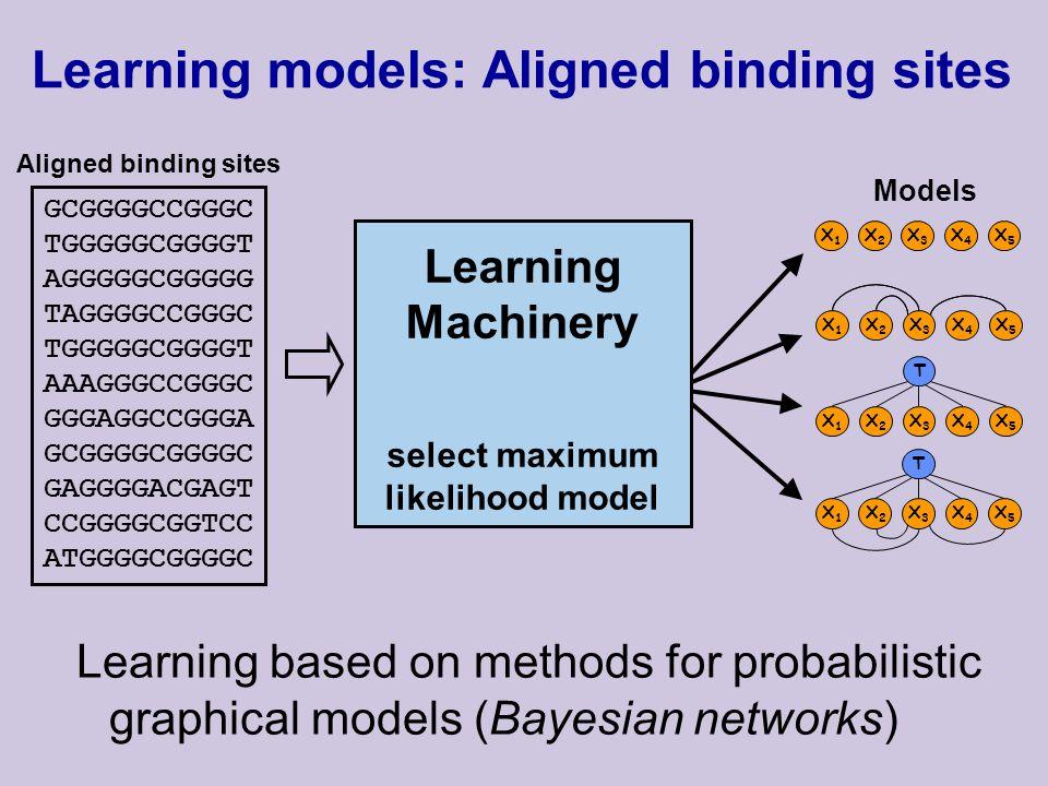 Learning models: Aligned binding sites Learning based on methods for probabilistic graphical models (Bayesian networks) GCGGGGCCGGGC TGGGGGCGGGGT AGGGGGCGGGGG TAGGGGCCGGGC TGGGGGCGGGGT AAAGGGCCGGGC GGGAGGCCGGGA GCGGGGCGGGGC GAGGGGACGAGT CCGGGGCGGTCC ATGGGGCGGGGC Aligned binding sites Models X1X1 X2X2 X3X3 X4X4 X5X5 X1X1 X2X2 X3X3 X4X4 X5X5 T X1X1 X2X2 X3X3 X4X4 X5X5 X1X1 X2X2 X3X3 X4X4 X5X5 T Learning Machinery select maximum likelihood model