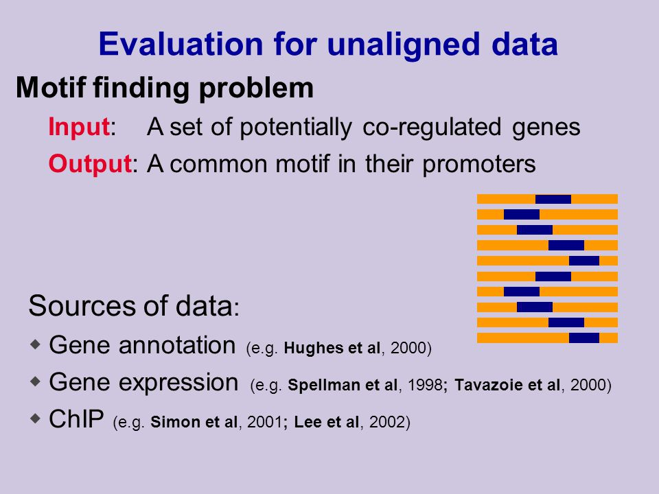 Sources of data : wGene annotation (e.g. Hughes et al, 2000) wGene expression (e.g.