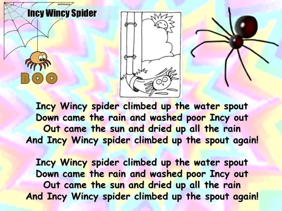 Incy Wincy Spider http://www.youtube.com/watch v=hyUAvodj0dA