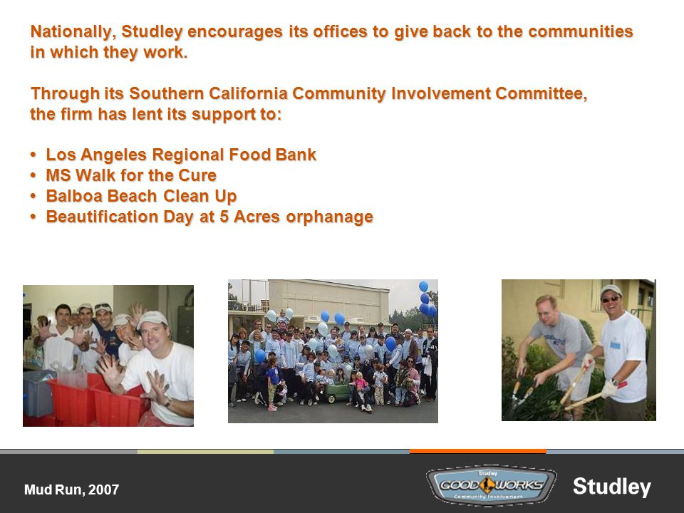 Mud Run, 2007 Nationally, Studley encourages its offices to give back to the communities in which they work.