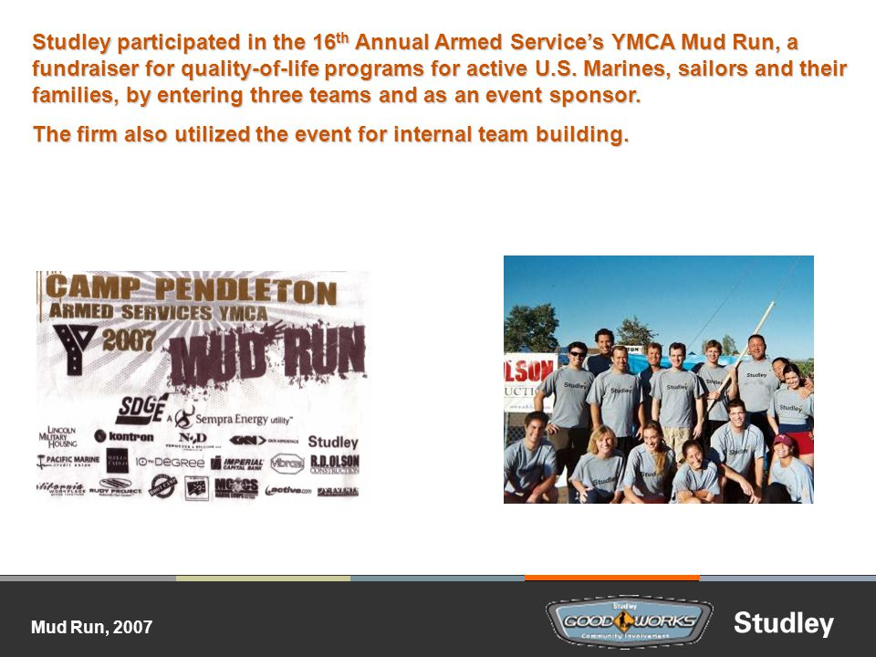Mud Run, 2007 Studley participated in the 16 th Annual Armed Services YMCA Mud Run, a fundraiser for quality-of-life programs for active U.S.