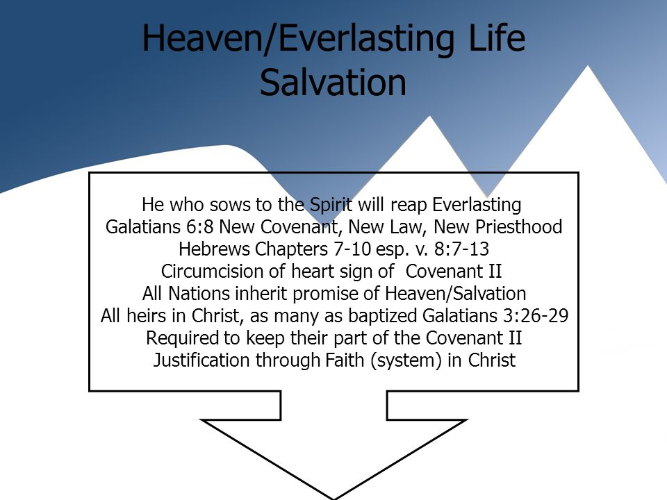 Heaven/Everlasting Life Salvation He who sows to the Spirit will reap Everlasting Galatians 6:8 New Covenant, New Law, New Priesthood Hebrews Chapters 7-10 esp.