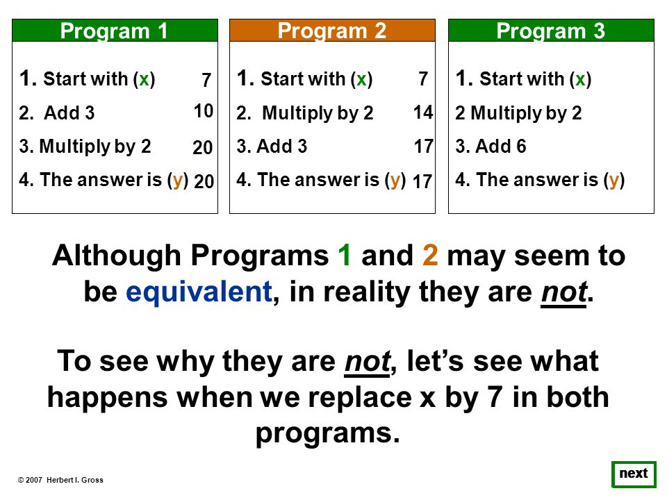 © 2007 Herbert I. Gross next 1. Start with (x) 2. Add 3 3. Multiply by 2 4. The answer is (y) Program 1 1. Start with (x) 2. Multiply by 2 3. Add 3 4.