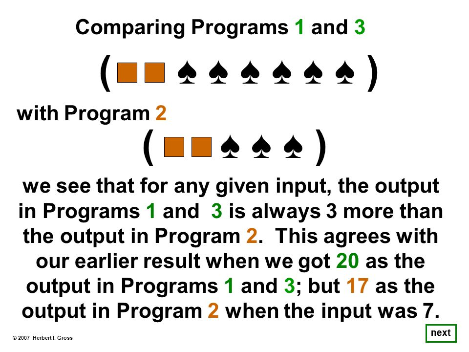 © 2007 Herbert I. Gross next we see that for any given input, the output in Programs 1 and 3 is always 3 more than the output in Program 2. This agree