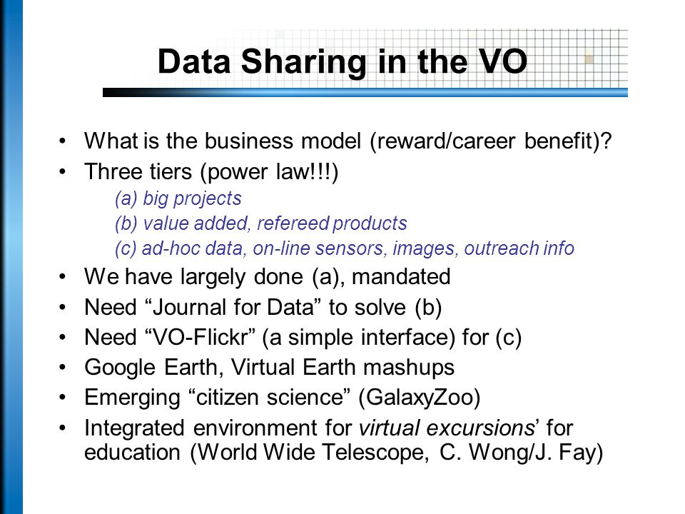 Data Sharing in the VO What is the business model (reward/career benefit).