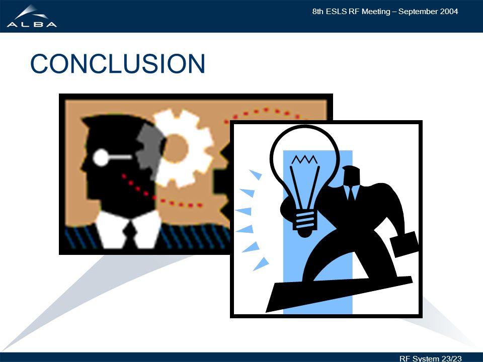 8th ESLS RF Meeting – September 2004 RF System 23/23 CONCLUSION