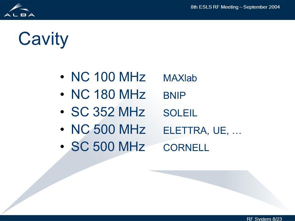 8th ESLS RF Meeting – September 2004 RF System 8/23 Cavity NC 100 MHz MAXlab NC 180 MHz BNIP SC 352 MHz SOLEIL NC 500 MHz ELETTRA, UE, … SC 500 MHz CORNELL