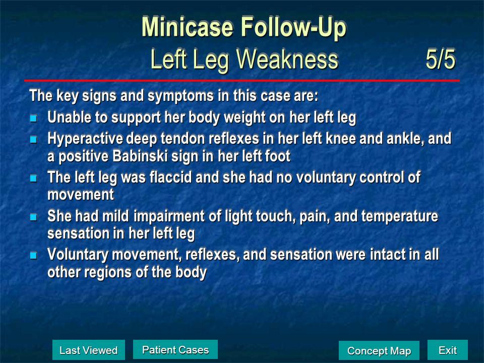 Exit Concept Map Concept Map Minicase Follow-Up Left Leg Weakness4/5 Last Viewed Last Viewed Patient Cases Patient Cases