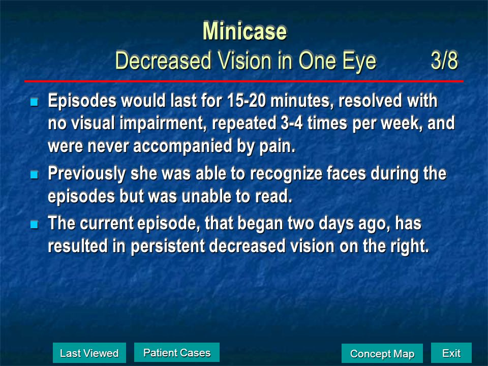 Exit Concept Map Concept Map Minicase Decreased Vision in One Eye2/8 Her medical history was notable for type II diabetes, hypercholesterolemia, and c