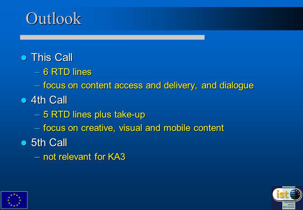Outlook This Call This Call –6 RTD lines –focus on content access and delivery, and dialogue 4th Call 4th Call –5 RTD lines plus take-up –focus on creative, visual and mobile content 5th Call 5th Call –not relevant for KA3