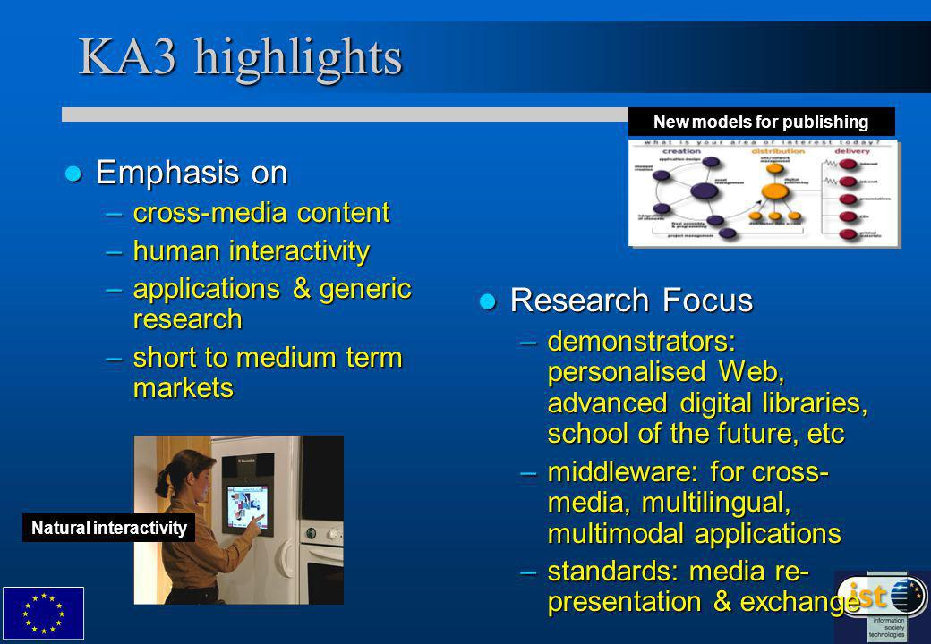 KA3 highlights Emphasis on Emphasis on –cross-media content –human interactivity –applications & generic research –short to medium term markets Research Focus –demonstrators: personalised Web, advanced digital libraries, school of the future, etc –middleware: for cross- media, multilingual, multimodal applications –standards: media re- presentation & exchange New models for publishing Natural interactivity