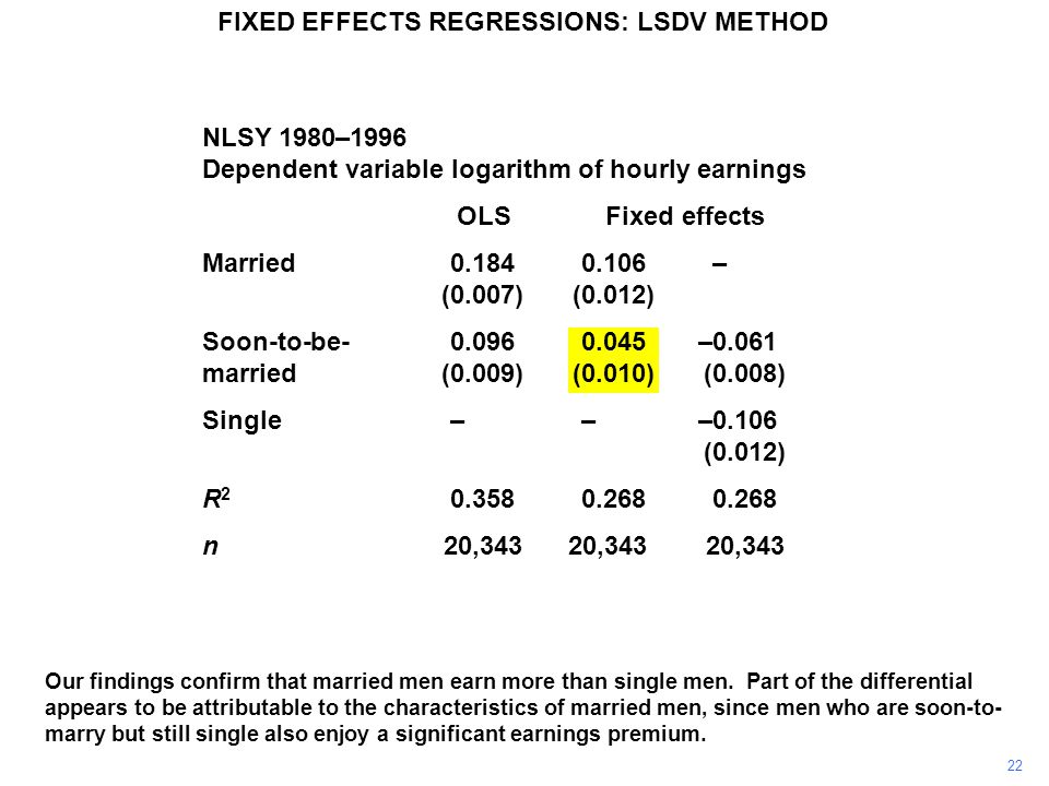 Our findings confirm that married men earn more than single men. Part of the differential appears to be attributable to the characteristics of married