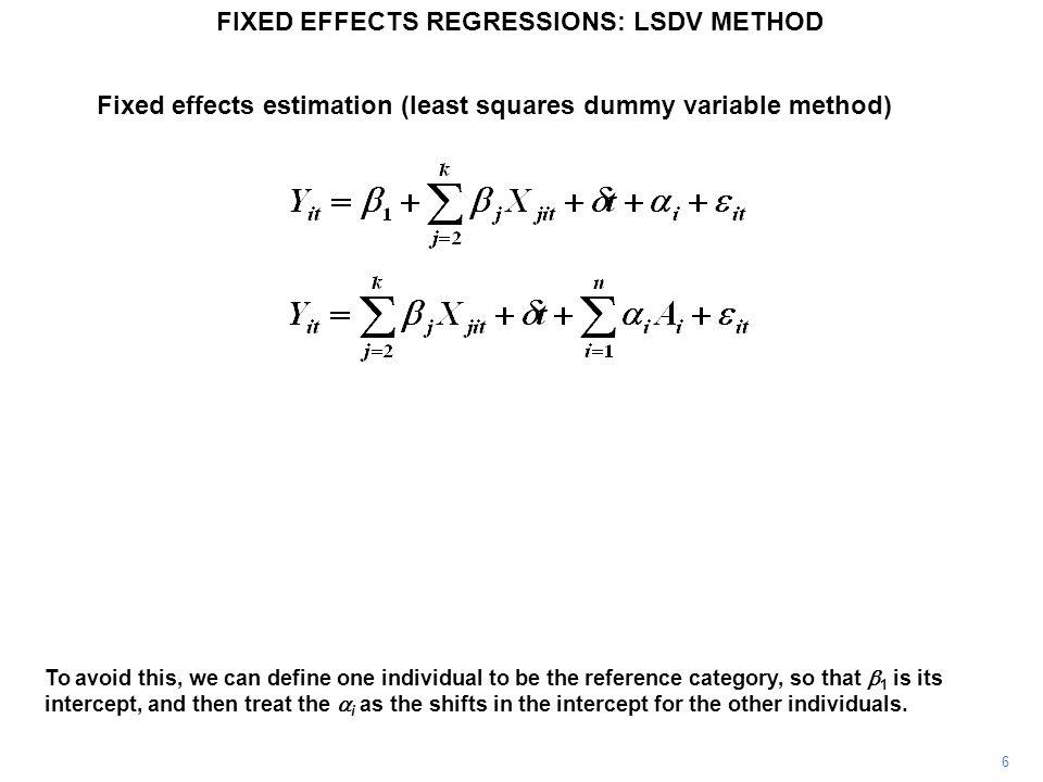 To avoid this, we can define one individual to be the reference category, so that 1 is its intercept, and then treat the i as the shifts in the interc