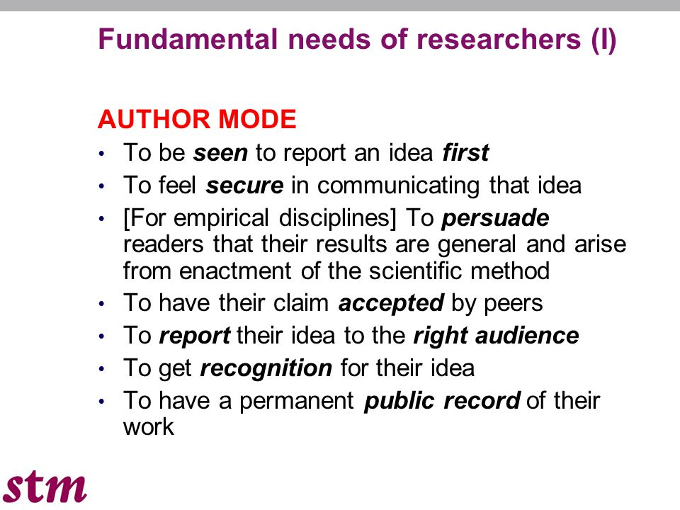 Fundamental needs of researchers (I) AUTHOR MODE To be seen to report an idea first To feel secure in communicating that idea [For empirical disciplin