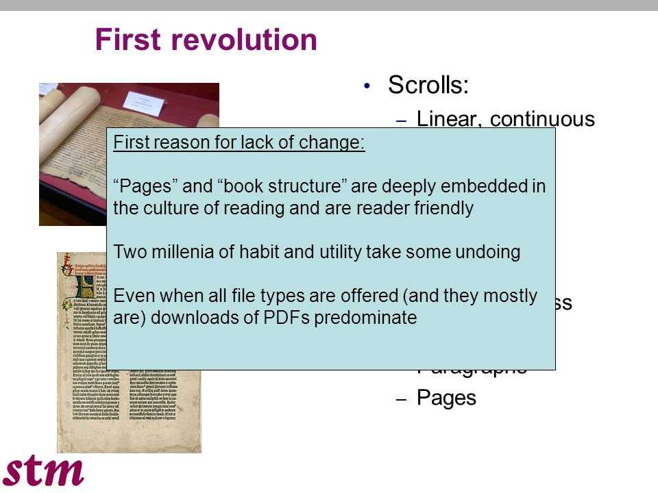 First revolution Scrolls: – Linear, continuous – No pages – Single scroll: volumen Books: – Random access – Chapters – Paragraphs – Pages First reason