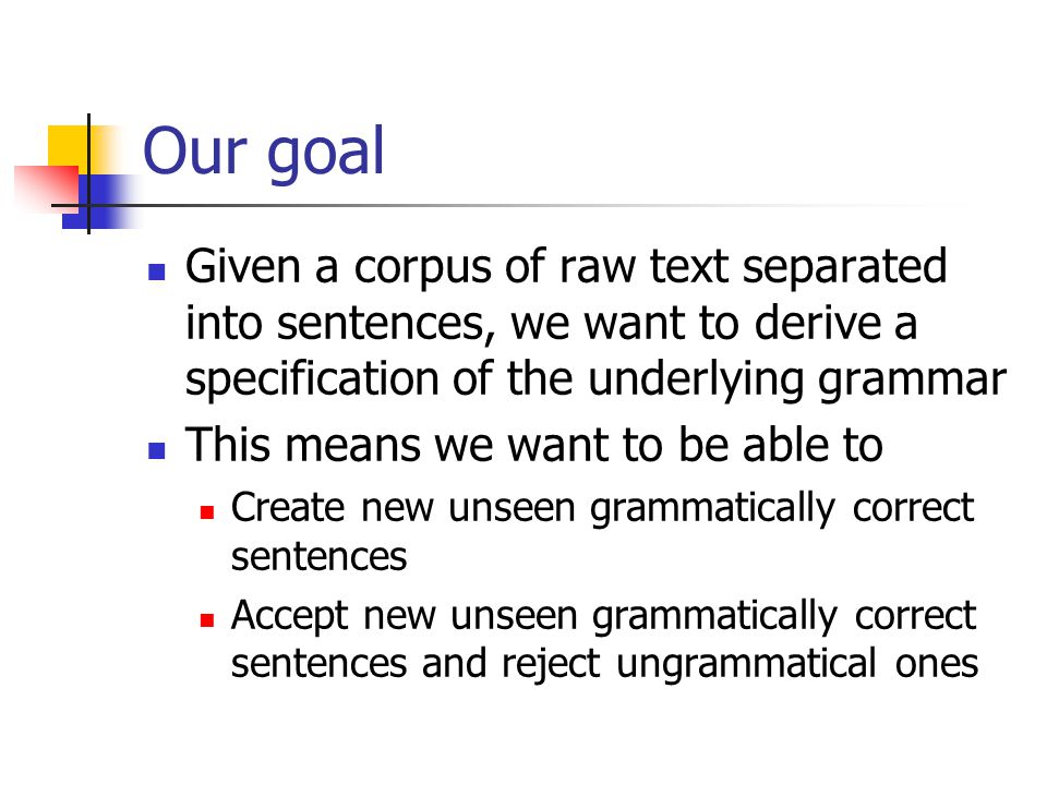 Our goal Given a corpus of raw text separated into sentences, we want to derive a specification of the underlying grammar This means we want to be able to Create new unseen grammatically correct sentences Accept new unseen grammatically correct sentences and reject ungrammatical ones
