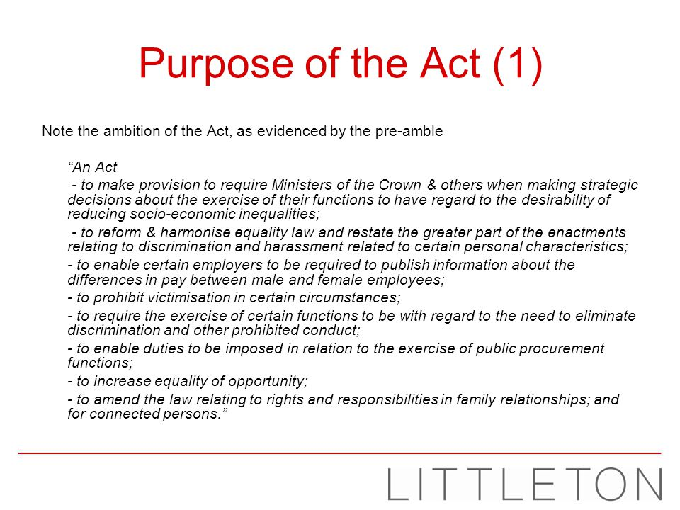 Victimisation (1) Section 27 If A subjects B to a detriment because B does a protected act, or because A believes that B has done or may do a protected act.
