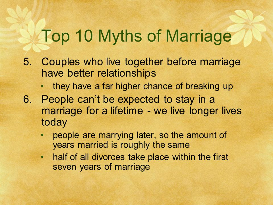 Top 10 Myths of Marriage 5.Couples who live together before marriage have better relationships they have a far higher chance of breaking up 6.People cant be expected to stay in a marriage for a lifetime - we live longer lives today people are marrying later, so the amount of years married is roughly the same half of all divorces take place within the first seven years of marriage
