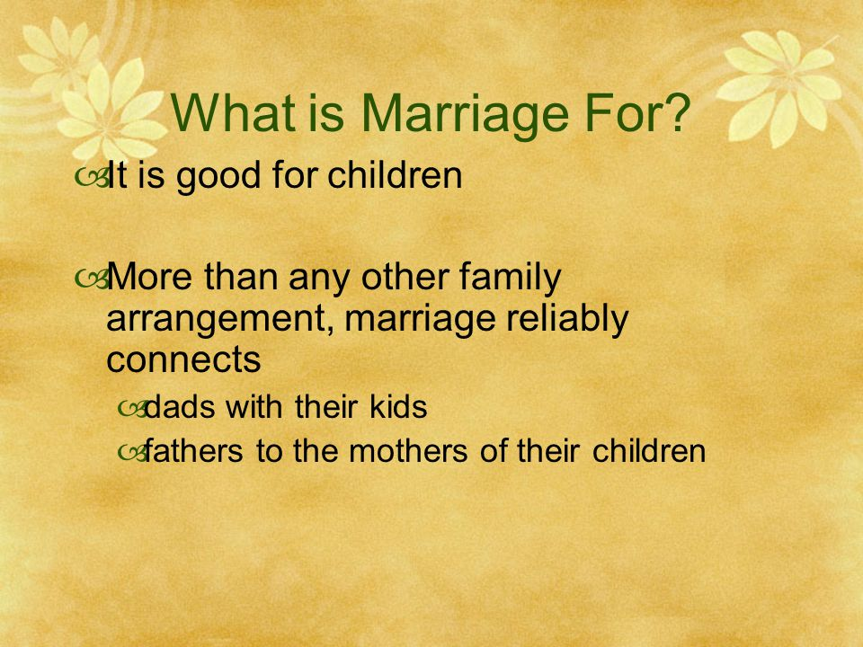 What is Marriage For.