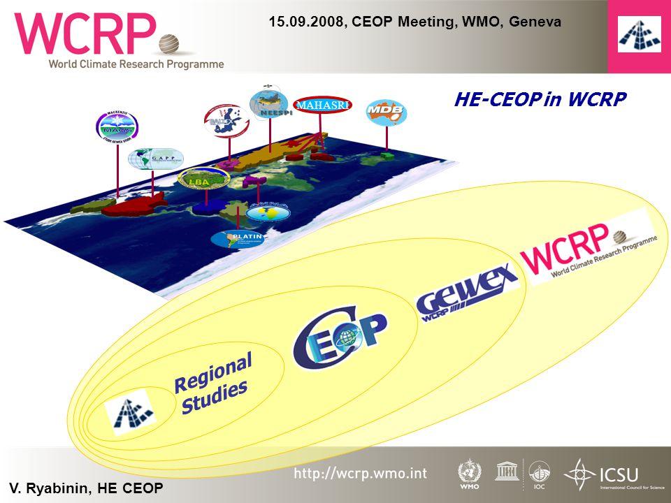 V. Ryabinin, HE CEOP 15.09.2008, CEOP Meeting, WMO, Geneva MAHASRI Regional Studies HE-CEOP in WCRP