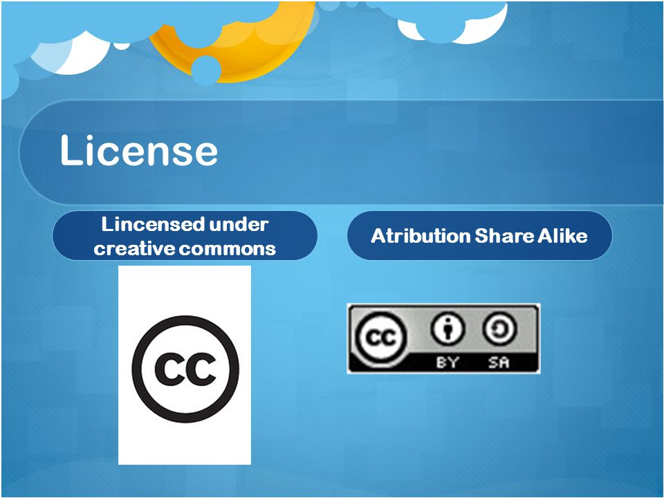 License Lincensed under creative commons Atribution Share Alike
