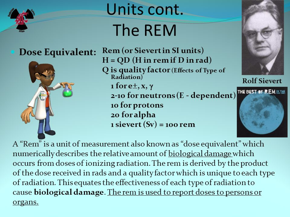 Units cont. The Rad Absorbed Dose Rad (or Gray in SI units) 1 R 95 ergs/gm for tissue 1 rad = 100 ergs/gm 1 gray (Gy) = 0.01 J/kg = 100 rad The rad (r