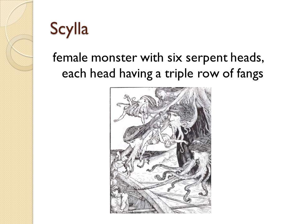 Scylla female monster with six serpent heads, each head having a triple row of fangs