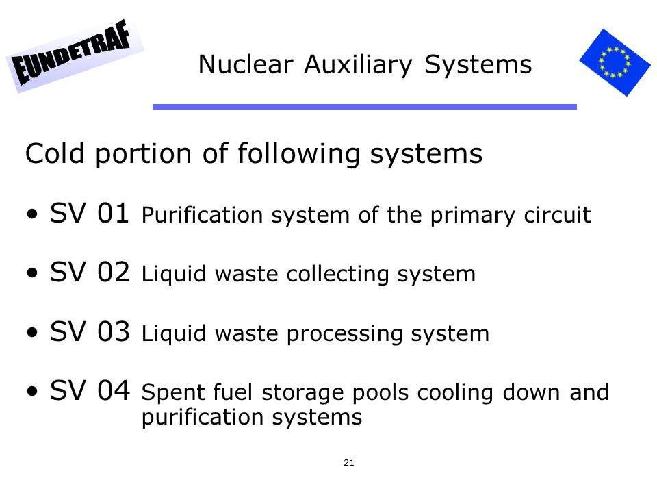 21 Nuclear Auxiliary Systems Cold portion of following systems SV 01 Purification system of the primary circuit SV 02 Liquid waste collecting system SV 03 Liquid waste processing system SV 04 Spent fuel storage pools cooling down and purification systems