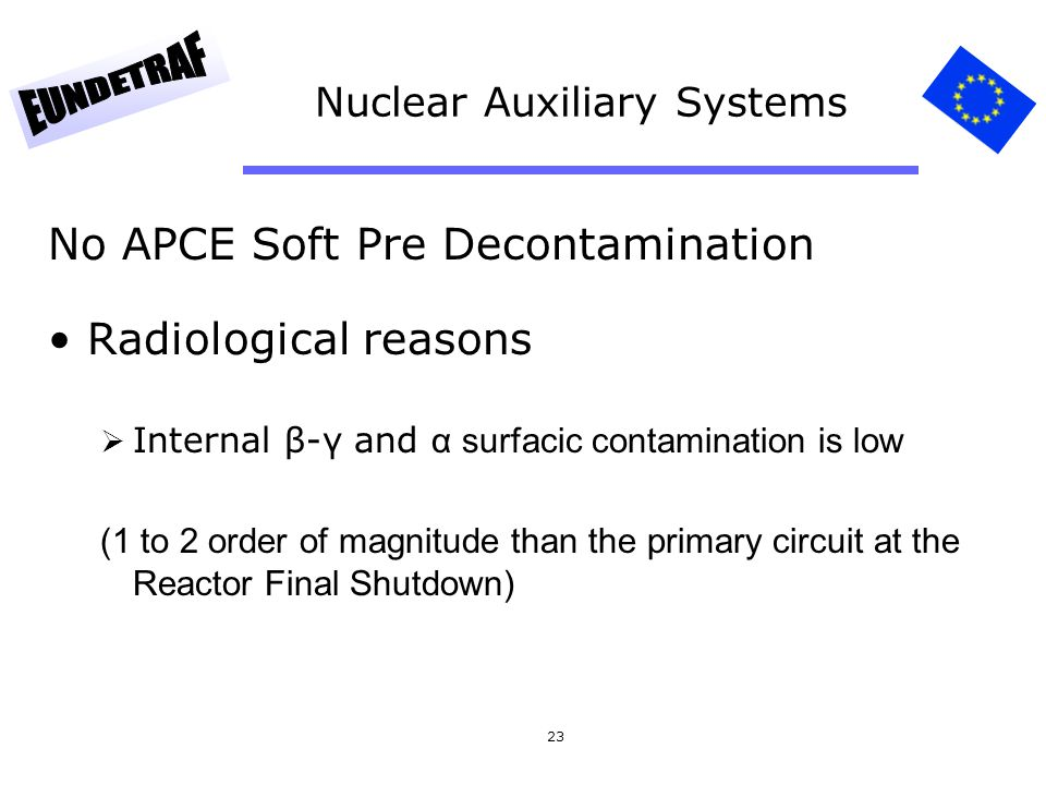 23 Nuclear Auxiliary Systems No APCE Soft Pre Decontamination Radiological reasons Internal β-γ and α surfacic contamination is low (1 to 2 order of magnitude than the primary circuit at the Reactor Final Shutdown)
