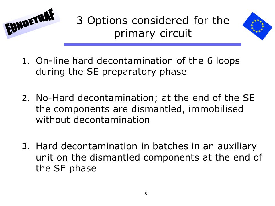 8 3 Options considered for the primary circuit 1. On-line hard decontamination of the 6 loops during the SE preparatory phase 2. No-Hard decontaminati